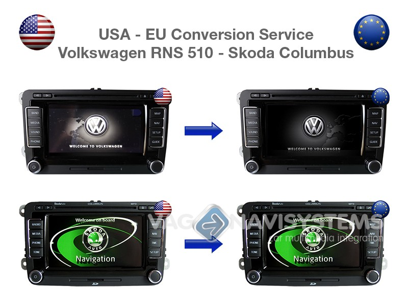 USA to EU Conversion Service for Volkswagen RNS 510 & Skoda